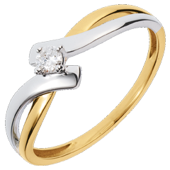 Solitaire Precious Nest - Chamalle - yellow gold and white gold - 0.08 carat diamond - 18 carats