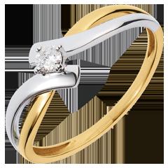 Solitario Nido Prezioso - Litigio maglia - oro giallo e bianco - diamante 0.08 carato - 18 carati