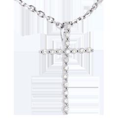 Colgante  cruz en oro blanco - 17 diamantes