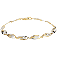 Bracelet Plumes de ganga - or blanc et or jaune 18 carats