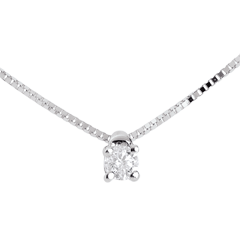 Collier solitaire or blanc  - diamant 0.07 carat - 45cm