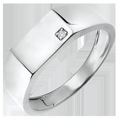 Pierścionek Światłocień - Sygnet Hektor - 9 karatowe białe złoto i diamenty