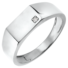 Ring Chiaroscuro - Zegelring Hector - 9 karaat witgoud en diamant