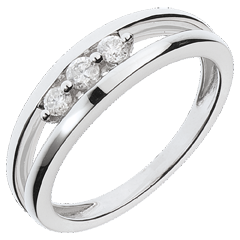 Anillo Triología abismo oro blanco - 3 diamantes