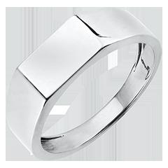 Ring Chiaroscuro - Zegelring Hector - 18 karaat witgoud