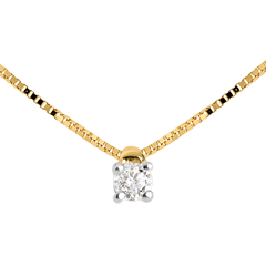 Collier solitaire or jaune  - 0.07 carat - 45cm