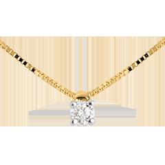 Collier solitaire or jaune 18 carats - 0.07 carat