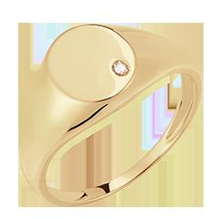 Bague Clair Obscur - Chevalière Achille - or jaune 9 carats et diamant