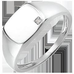 Bague Clair Obscur - Chevalière Énée - or blanc 18 carats et diamant