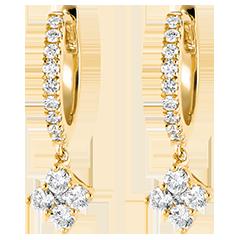 Boucles d'oreilles Créoles semi-pavées Fraîcheur - Dina - or jaune 9 carats et diamants