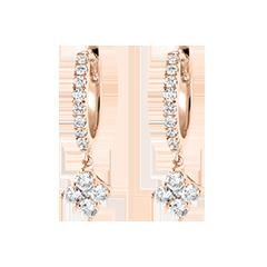 Boucles d'oreilles Créoles semi-pavées Fraîcheur - Dina - or rose 9 carats et diamants