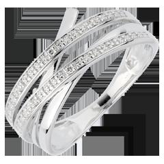Anillo remolino oro blanco - 6 diamantes