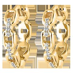 Kolczyki typu kreolki Wschodnie spojrzenie - Kubańskie ogniwo - 9 karatowe żółte złoto i diamenty