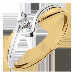 Solitario Nido Prezioso - Zeus - oro giallo ed oro bianco - 0.05 carato - 18 carati