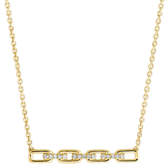 Halsketting Oriëntale Uitstraling - Cubaanse schakel - 18 karaat geelgoud en diamanten