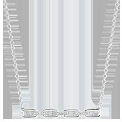 Halsketting Oriëntale Uitstraling - Cubaanse schakel - 9 karaat witgoud en diamanten