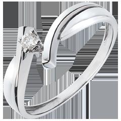 Solitario Nido Prezioso - Zeus - oro bianco - diamante 0.05 carato - 18 carati