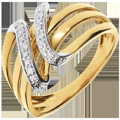 Anello Chiave di Do oro giallo - 6 diamanti