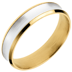 White and Yellow Gold Dandy Ring - 5mm