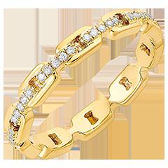 Ring Auge des Orients - Kubanische Kettenglieder mit Diamanten - 18 Karat Gelbgold und Diamanten