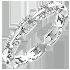 Ring Auge des Orients - Kubanische Kettenglieder mit Diamanten Variation - 9 Karat Weißgold und Diamanten