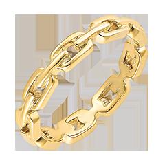 Orient Gaze Ring - Cuban Link Thin - yellow gold 9 carats