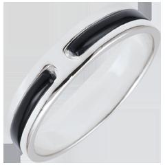 خاتم زواج پروميس من الذهب ـ 5 ملم ـ الذهب الأبيض 18 قيراط و الورنيش الأسود