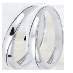 Duo d'alliances Saturne Trilogy - or blanc - 9 carats