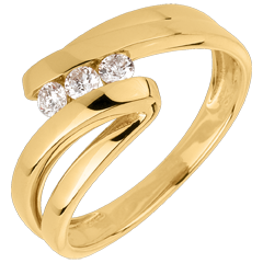 Bague trilogie Nid Précieux - Naïade - or jaune - 3 diamants - 18 carats