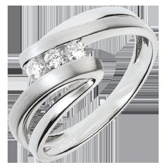 Anillo trilogía Nido Precioso - Náyade - oro blanco - 3 diamantes