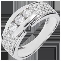 Anello Costellazione - Trilogia lastricata oro bianco - 0.84 carati - 59 diamanti