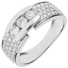 Anillo Constelación - Trilogía pavé oro blanco - 0. 84 quilates - 59 diamantes