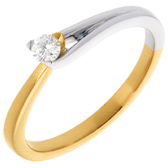 Solitaire Broche or jaune-or blanc - 0.11 carat