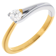 Solitaire Broche - diamant 0.23 carats - or blanc et or jaune 18 carats