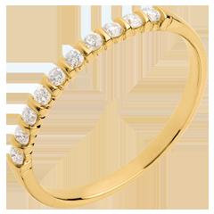 Fede nuziale oro giallo semi pavé - incastonatura Griffe e a Barrette  - 10 diamanti