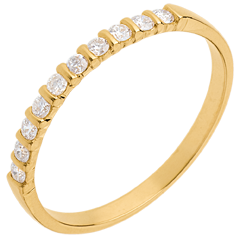 Fede nuziale oro giallo semi pavé - incastonatura a Barrette - 10 diamanti