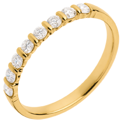 Fede nuziale oro giallo semi pavé - incastonatura a Barrette - 0.3 carati - 8 diamanti