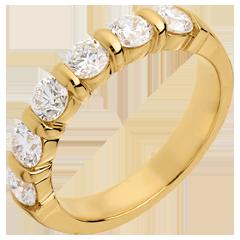 Alianza oro amarillo semi empedrado - engaste pasador - 1.2 quilates - 6 diamantes
