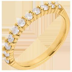Alianza oro amarillo semi empedrado - engaste garras - 0.5 quilates - 11 diamantes