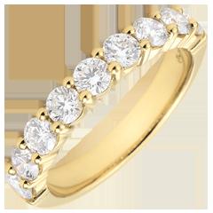 Alianza oro amarillo semi pavimentada - engaste de garras - 1 quilates - 9 diamantes
