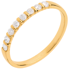 Alianza oro amarillo semi empedrado - engaste pasador - 0.25 quilates - 8 diamantes