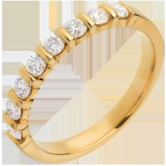 Fede nuziale oro giallo semi pavé - incastonatura a Barrette - 0.5 carati - 8 diamanti
