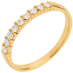 Alianza oro amarillo semi empedrado - engaste garras - 0.25 quilates - 9 diamantes