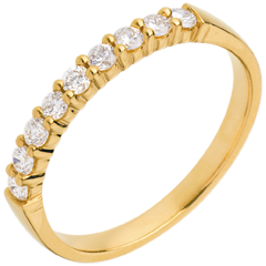 Alianza oro amarillo semi empedrado - engaste garras - 0.3 quilates - 9 diamantes