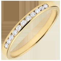 Alliance or jaune semi pavée - serti rail - 0.15 carat - 11 diamants