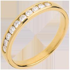 Alliance or jaune semi pavée - serti rail - 0.25 carats - 10 diamants