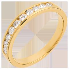 Alianza oro amarillo semi empedrado - engaste raíl  - 0.3 quilates - 10 diamantes