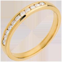 Fede nuziale oro giallo semi pavé - incastonatura Binario - 11 diamanti