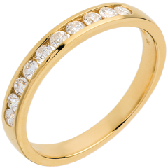 Fede nuziale oro giallo semi pavé - incastonatura Binario - 0.3 carati - 10 diamanti