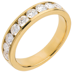 Alliance or jaune semi pavée - serti rail  - 1 carats - 9 diamants